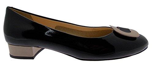 Paperina calzado tribunal hebilla dos tonos-art N513 negro, color beige