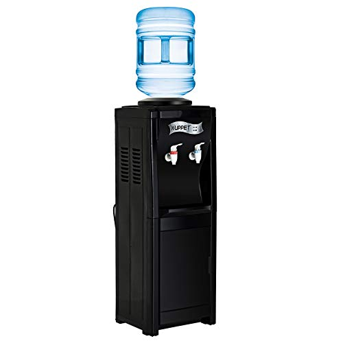 KUPPET Water Cooler Dispenser-Top Loading Freestanding Water Dispenser with Storage Cabinet, 5 Gallon, Two Temperature Settings-Hot(185℉-203℉), Normal Temperature(50℉-59℉), BLACK