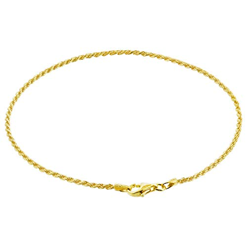 14k Gold over Sterling Silver Vermeil 1.5mm Rope Chain Anklet 9 inch -