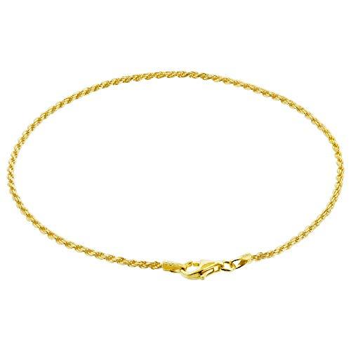Gem Avenue 14k Gold Over Sterling Silver Vermeil 1.5mm Rope Foot Chain Anklet