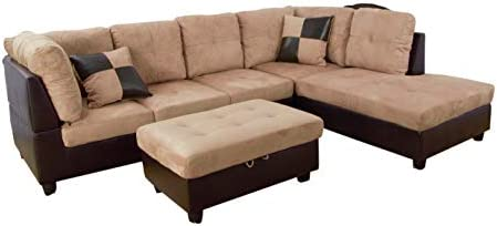 Admirable Home Garden Collections 3 Piece Microfiber Faux Leather Contemporary Right Facing Sectional Sofa Set With Ottoman 2 Accent Pillows Camel Beige Caraccident5 Cool Chair Designs And Ideas Caraccident5Info