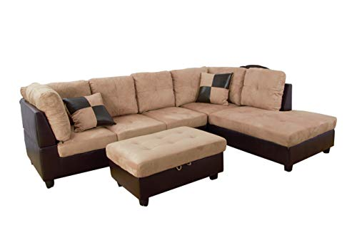 (Home Garden Collections 3 Piece Microfiber/Faux Leather Contemporary Right-Facing Sectional Sofa Set with Ottoman, 2 Accent Pillows, Camel Beige Product SKU: HF3014LS3)