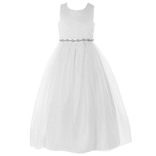 FAYBOX Classy Wedding Flower Girl White Dresses First Holy Communion Belt White 2 ()