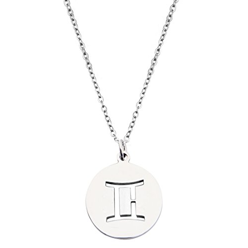 Zodiac Signs Cut Out Stainless Steel Disc Necklace (Gemini)