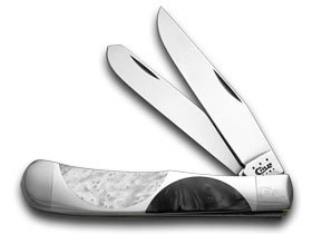 CASE XX schwarz Pearl Weiß Pearl Half Circle Trapper Pocket Knife Knives B00F6MO2JM       Stabile Qualität