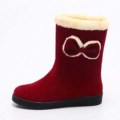 Femmes De D'hiver Rouge Chaussures 36 Taille Mignon coloré Arc Décontractées Haute Qualité Bottes Pour Coton Chaudes Oudan Marron qYIwpxRn