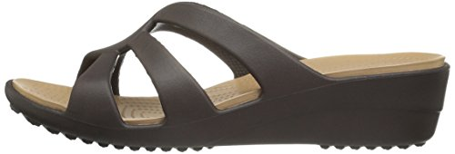 Strappy Wedge Sandales Sanrah Ouvert Bout Crocs Expresso Femme 1q5zaW