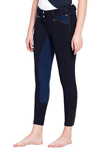 (Equine Couture Women's Blakely Full Seat Breech with Contrast Saddle Stitch, Navy, 28)