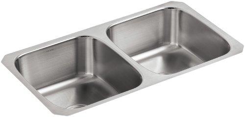 KOHLER K-3180-NA Undertone Double Equal Undercounter Kitchen Sink, Stainless Steel