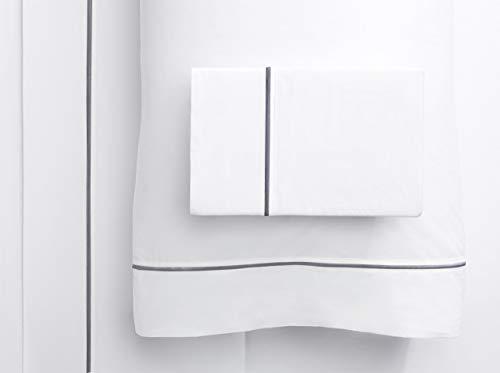 Cotton Sheet Set Emb - SeventhStaRetail 1000 Thread Count Single Stripe Embroidery Sheet Set (Dark Grey EMB ON White, King)