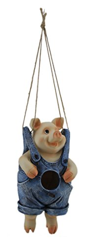 Zeckos Resin Bird Houses by The Seat of Their Pants Hanging Animal Bird House 5 X 9.75 X 5 Inches Blue -