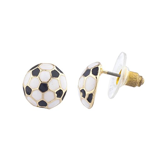 Lux Accessories Goldtone Black White Soccer Ball Sports Post Earrings - Gold Tone Sport Earrings