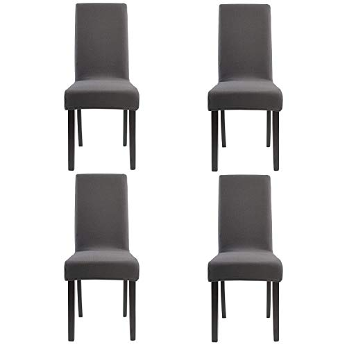Homluxe Knit Spandex Stretch Dining Room Chair Slipcovers (4, Gray Knit) (Charcoal Chair Seat Polyester)