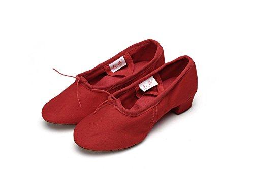 JINFENGKAI Women's Latin Dance Shoes Red-Canvas cFKwZ1hMtS