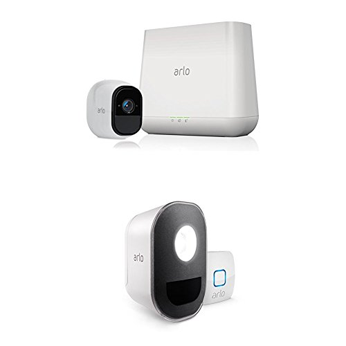 Arlo Pro - Security System with Siren - 1 Rechargeable Wire-Free HD Camera with Arlo Smart Home 1 Security Light Kit, Works with Amazon Alexa