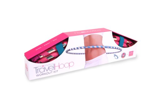 Hoopnotica Fitness Travel Hoop Combo Kit (incl. Weighted Hula Hoop, Carry Strap, Level 1 Hoopdance DVD) - Pink and Gold