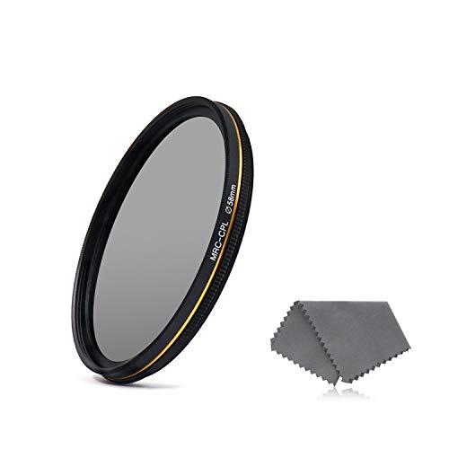 LENSKINS 58mm Circular Polarizing Lens Filter, German Schott Optics Glass, 16-Layer Multi-Resistant Nano Coated, Ultra Slim Lens Cloth CPL Camera Lenses Filter