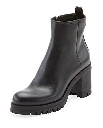 - Prada Leather Lug-Sole Platform Booties 40.5 Black