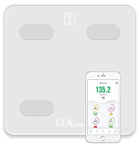 Bluetooth Smart Body Fat Scale- Fit2Live Digital Bathroom Weight Scale, Body Composition Analyzer, USB Rechargeable, with iOS and Android App for Body Weight, Fat, Water, BMI, BMR, Muscle Mass (White) 10 Lb Usb Scale