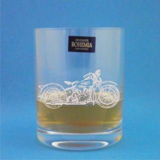 Pair of Bohemia Crystal Whisky Glasses With Harley Davidson Design with presentation - Novelty Box Davidson Harley