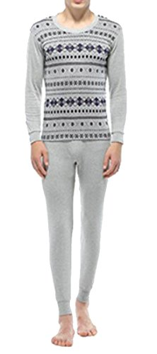 today-UK Men Winter Warm Jacquard Crewneck Print Soft Thermal Underwear Set 8
