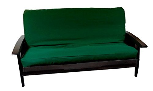 Futon Cover with 3 Sided Zipper - Factory Direct - Full or Queen - Solid Colors - Premium Cotton/Polyester Blend - Futon Mattress Cover (Hunter Green, Queen (Fits 6