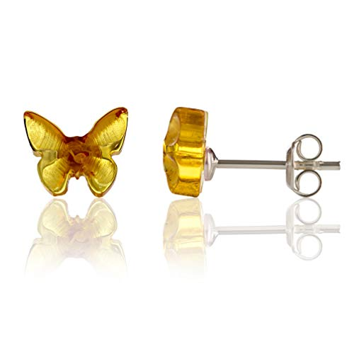 (Amber Culture Butterfly Stud Earrings in a Gift Box - Genuine Baltic Amber - 925 Sterling Silver - Carved from Natural Resin - Hypoallergenic - Honey)
