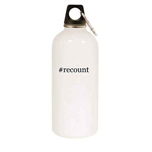 #recount - 20oz Hashtag Stainless Steel White Water Bottle with Carabiner, White