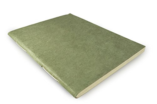 Nepali Companion Notebook with Handmade Paper and Vegetable-Dyed Cover. Made in Nepal (Large, Sage)