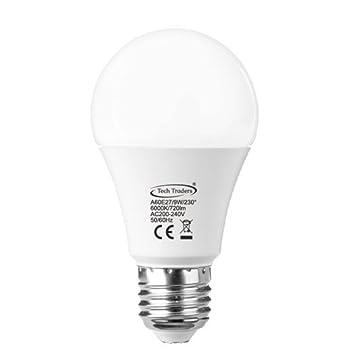 Tech Traders® LED E27 tornillo luz bombillas 90 W Equivalente, A60, luz blanca cálida (3000 ...
