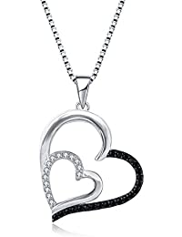 925 Sterling Silver Heart Pendants Necklace Women's Jewelry, 18 inch / 45 cm