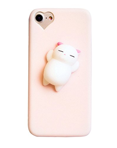 3D Soft Silicone Animal Phone Case With Finger Decompression Squishy For iPhone Samsung (Cat (Pink), (Raven Float)