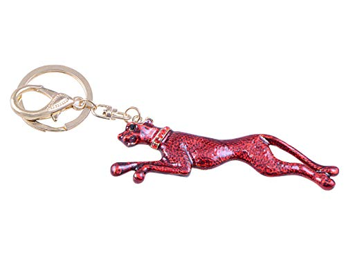(Alilang Synthetic Ruby Red Enamel Speed Jaguar Leopard Hound Golden Tone Clip Keychain)