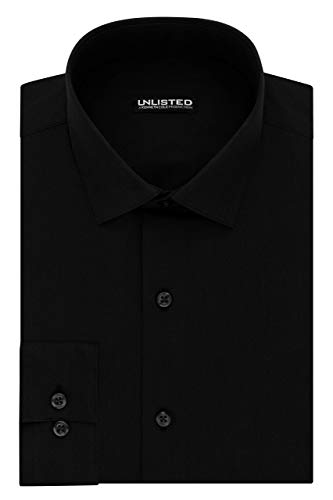 Kenneth Cole Unlisted Men's Dress Shirt Big and Tall Solid ,  Black,  18.5