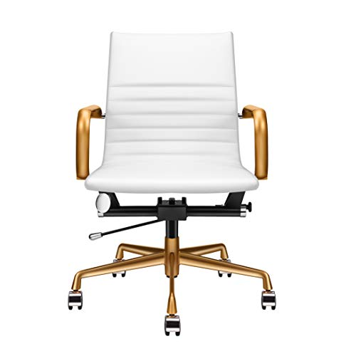 LUXMOD White and Gold Desk Chair, Home Office Chair with Arms, Mid Back Adjustable Swivel Chair, Leather Computer Chair, Ergonomic Desk Chair for Extra Back & Lumbar Support – White/Gold