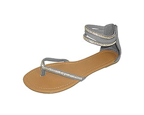 P26 Womens Roman Gladiator Sandals Flats Thongs Shoes W/Rhinestones (7/8, Grey) (Shoes Roman Sandals)