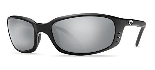 Costa Del Mar Brine Men's Polarized Sunglasses, Matte Black/Silver Mirror Glass - W580, - Brine Costa