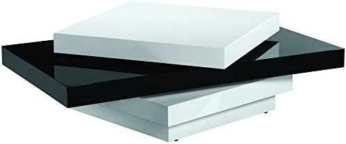 Armen Living Modern Swivel Coffee Table with and Black and White Gloss Finish