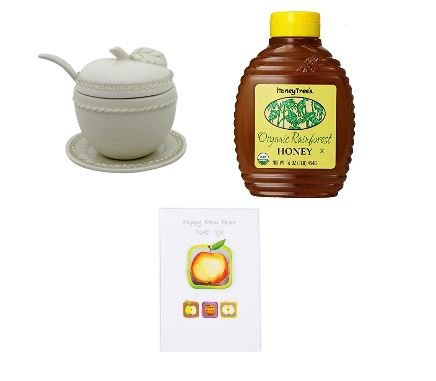 Rosh Hashana Gift Package: Handmade Ceramic Honey Pot w/Matching Honey Spoon; Organic Tropical Honey; New Year Greeting Card (Apple with Crystals)