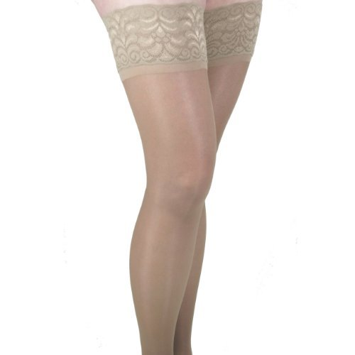 GABRIALLA Sheer Thigh Highs, Compression (23-30 mmHg) Beige, Large by GABRIALLA