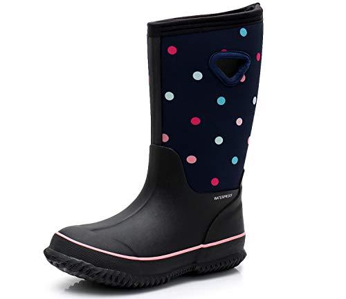 SOLARRAIN Girls' Neoprene Rubber Waterproof Dot Snow Boots Winter Warm Kids' Outdoor Durable Rain Shoes (Big Kid 4M US, Colored dot)
