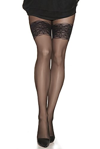 (Women's Sheer Black Patterned Tights with LACE STOCKING PRINT | Gatta SWEETY 11 [Made in Europe] (3(M) 5'4