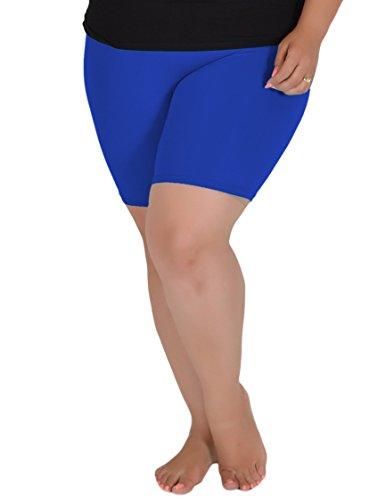 Stretch Is Comfort Women's Cotton Plus Size Bike Shorts Royal Blue 2XL (Plus Size Blue Shorts)