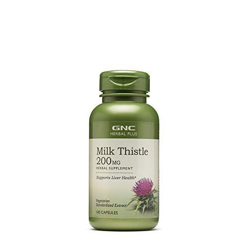 GNC Herbal Plus Milk Thistle, 200mg, Vegetarian Capsules, 100 ea