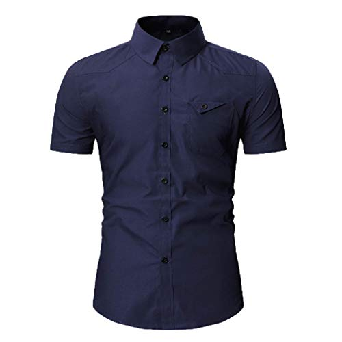 (JJLIKER Men's Standard-Fit Short-Sleeve Plain Shirts Button Down Casual Pocket Shirt Tops Slim-Fit Dress Shirt Tees Navy)