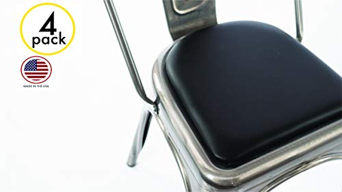 Rounded Back Chair Cushion: Fits Industrial/Modern/Farmhouse Type Chairs and Stools. Handmade in USA (Black 4 Pack)