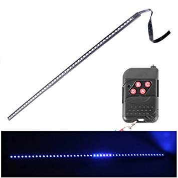Uniqus 5050 20W 48 LED RGB Car Truck Remote colorful Knight Rider LED Strobe Scanner Flash Strip Light, DC 12V Cable Length  130cm(bluee Light)