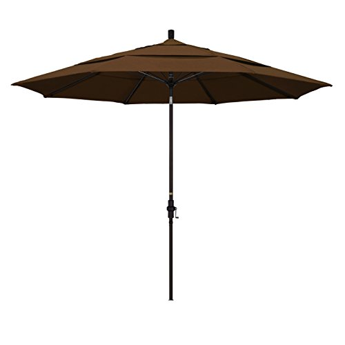 California Umbrella 11′ Round Aluminum Pole Fiberglass Rib Market Umbrella, Crank Lift, Collar Tilt, Bronze Pole, Teak Olefin For Sale