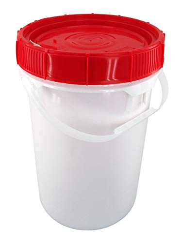 Screw Top Bucket - 6.5 Gallon with Red Lid; Heavy Duty 90 mil by Letica
