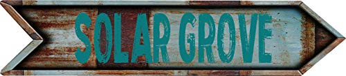 Any and All Graphics Solar Grove 4''x18'' Arrow Shaped Rustic Antique Vintage Look Composite Aluminum Novelty décor Sign. by Any and All Graphics